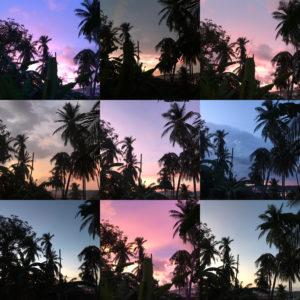夕日のコラージュ