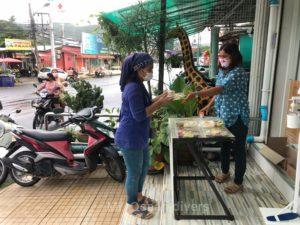 食事の無料配布をするタイ人女性