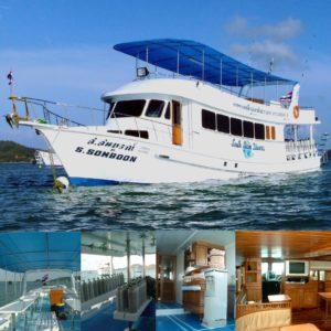 海に浮かぶダイビングボートのソンブーン1号と内装