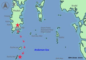 チャロン港からラチャノイ島までの地図