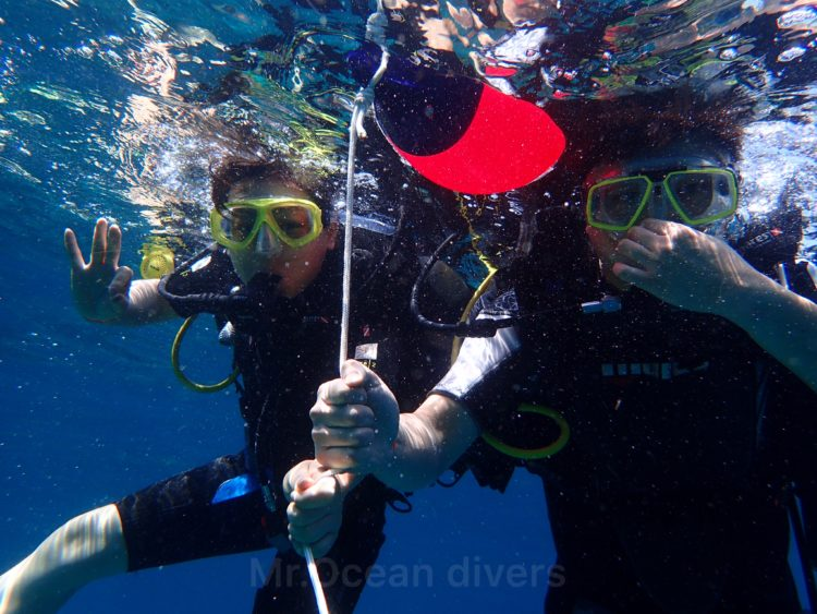体験ダイビングの潜降開始